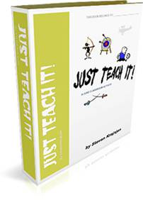 Just Teach It! is a 31 page complete unit that helps teachers and students end their academic year with a &ldquo;bang&rdquo;. Every student gets to research, prepare and teach their classmates a lesson, skill or an activity that they do well. Clear instructions, well organized information and detailed evaluation sheets are included - from http://www.timesaversforteachers.com